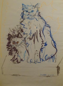 Cat Series III by Miguel Angel Batalla Original (Chalk & Ink) on Paper