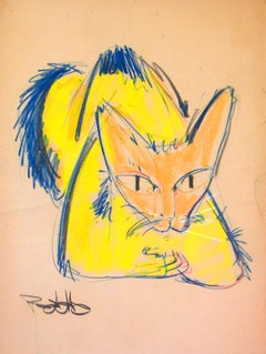 Cat Series V by Miguel Angel Batalla Original Painting (Chalk & Ink on Paper)