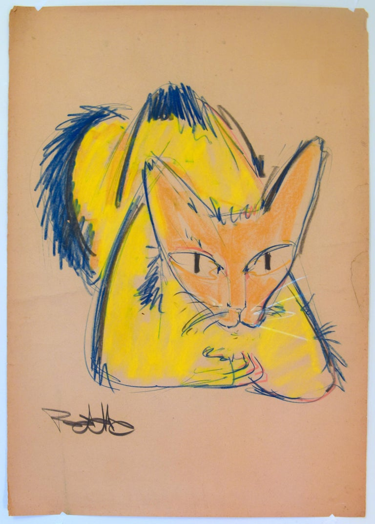 Cat Series V by Miguel Angel Batalla Original Painting (Chalk & Ink on Paper) For Sale 1