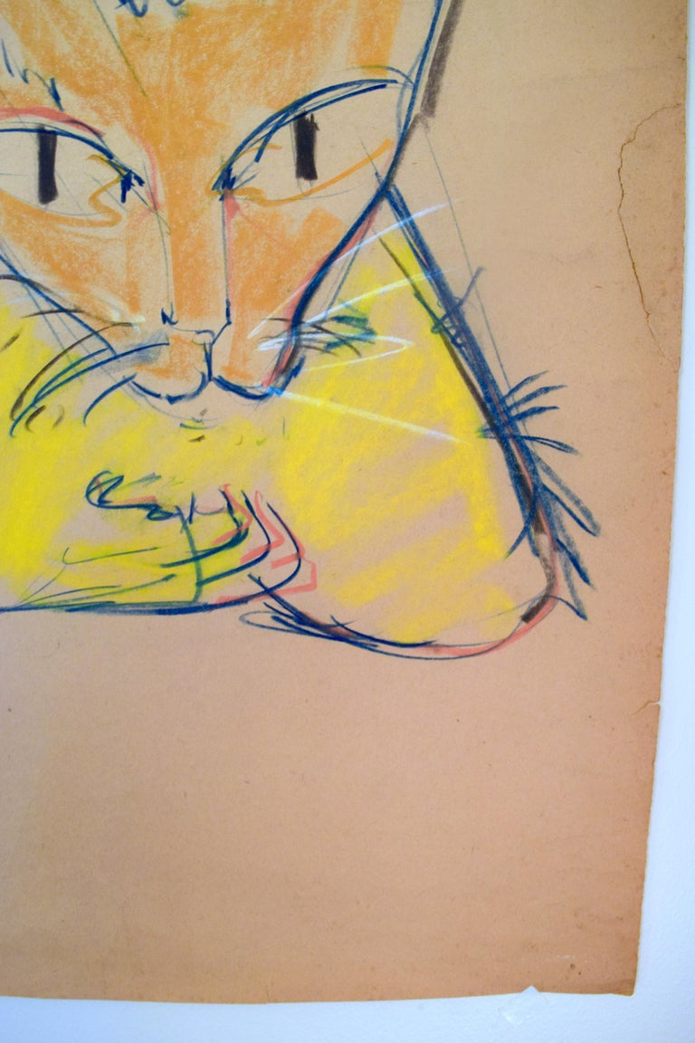 Cat Series V by Miguel Angel Batalla Original Painting (Chalk & Ink on Paper) For Sale 5