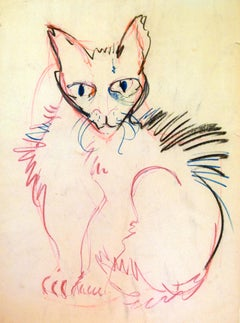 Cat Series IV by Miguel Angel Batalla Original Painting (Chalk & Ink on Paper)