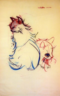 Cat Series III by Miguel Angel Batalla Original Painting (Chalk & Ink) on Paper