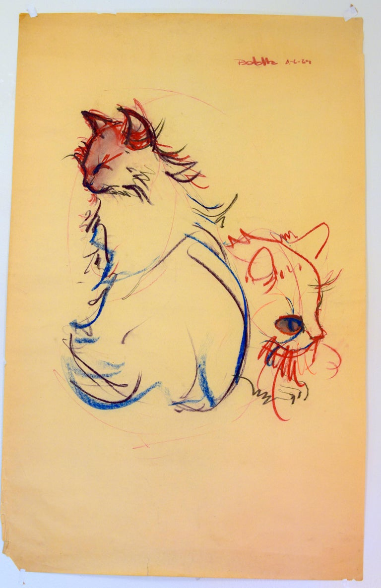 Cat Series III by Miguel Angel Batalla Original Painting (Chalk & Ink) on Paper For Sale 1