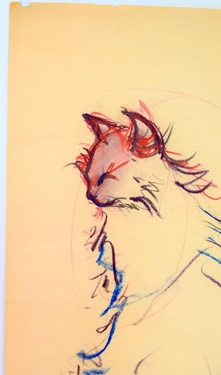 Cat Series III by Miguel Angel Batalla Original Painting (Chalk & Ink) on Paper For Sale 2