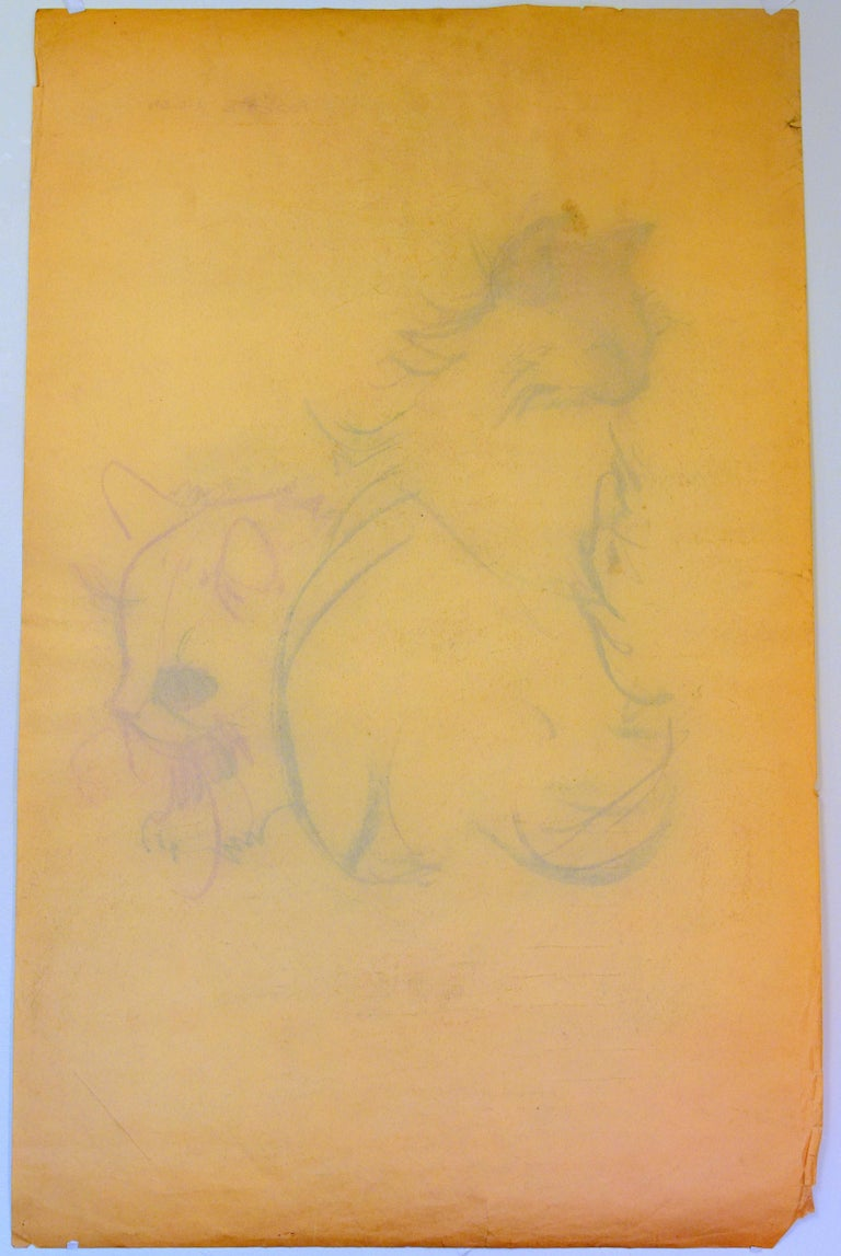 Cat Series III by Miguel Angel Batalla Original Painting (Chalk & Ink) on Paper For Sale 7
