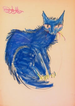 Cat Series VII by Miguel Angel Batalla Original Painting (Chalk & Ink) on Paper