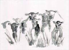 Countryside Series - Grazing Cows by Silvina Pirola Oil & Charcoal on Paper