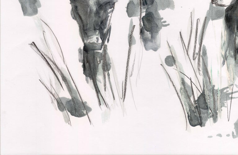 Countryside Series - Grazing Cows by Silvina Pirola Oil & Charcoal on Paper For Sale 2
