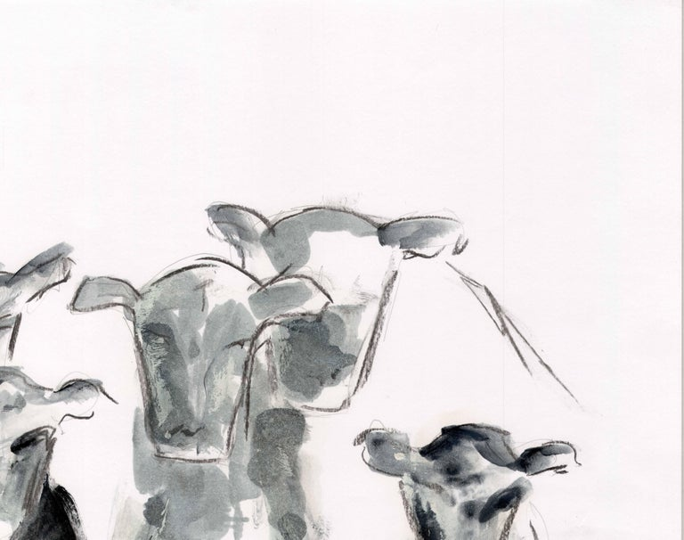 Countryside Series - Grazing Cows by Silvina Pirola Oil & Charcoal on Paper For Sale 3