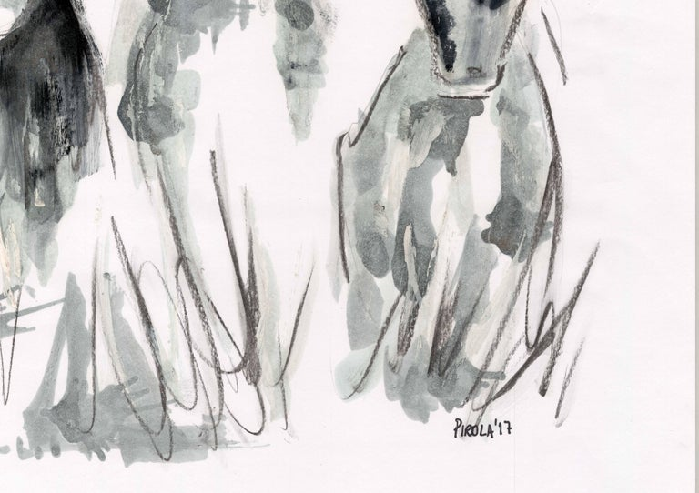 Countryside Series - Grazing Cows by Silvina Pirola Oil & Charcoal on Paper For Sale 4