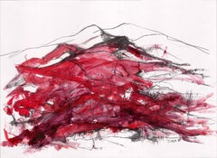 Landscape Series Mountain 85 by Silvina Pirola Oil & Charcoal on Paper