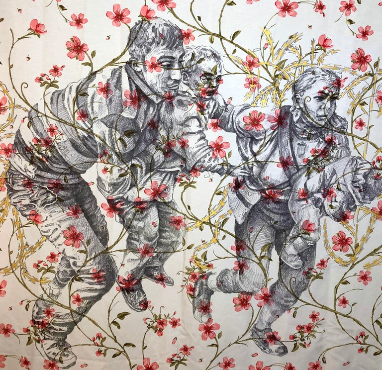 The Other Side Series II by Alexander Guerra (ink drawing on fabric) For Sale 1