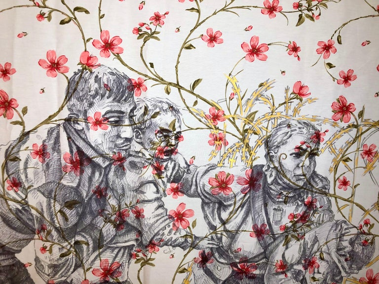 The Other Side Series II by Alexander Guerra (ink drawing on fabric) For Sale 2