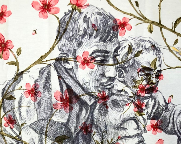 The Other Side Series II by Alexander Guerra (ink drawing on fabric) For Sale 3