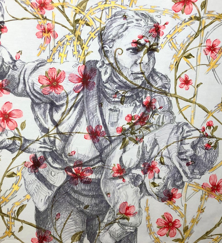 The Other Side Series II by Alexander Guerra (ink drawing on fabric) For Sale 4