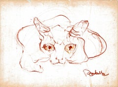 Cat Series IX by Miguel Angel Batalla Original Painting (Chalk & Ink) on Paper