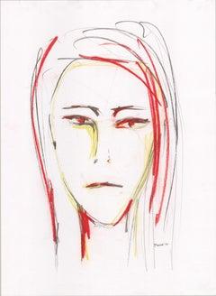 "Portraits Series ""Mirada 11""  by Silvina Pirola Oil & Charcoal on Paper"