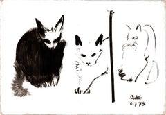 Cat II Ink Drawing Series by Miguel Angel Battle Ink on Paper Tao Art