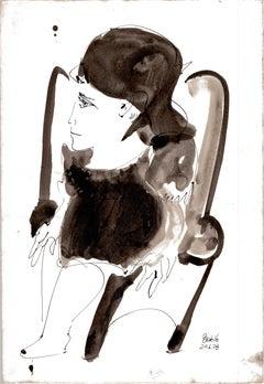 Self Portrait I by Miguel Angel Battle Ink on Paper Tao Art