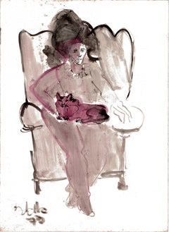 Portrait of a Lady with a Cat by Miguel Angel Battle Ink on Paper Tao Art
