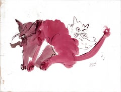 Cat III Ink Drawing Series by Miguel Angel Battle Ink on Paper