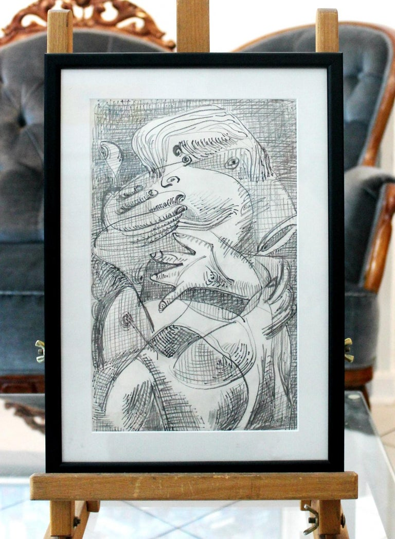 Lovers - Gray Abstract Drawing by Józef Szajna