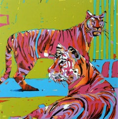 Tigers 01 - XXI century, Oil figurative painting, Wild animals, Vivid colours