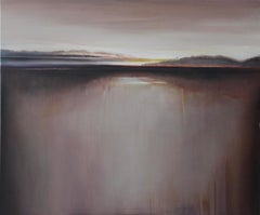 Landscape VI - Contemporary figurative oil painting, Muted pastel colors