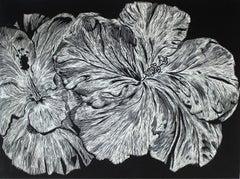 Hibiscus - XXI century, Linocut, Flower, Figurative Art, Black and white