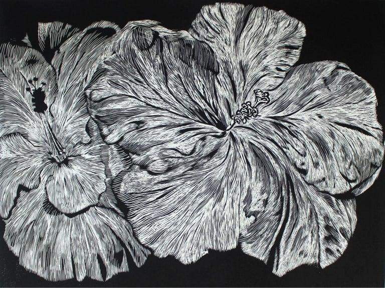Marta Bozyk Hibiscus Xxi Century Linocut Flower Figurative