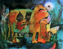 Couch stories - XXI century, Mixed media print, Bright colours, Fantasy