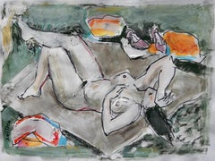 Nude - XXI century, Figurative nude drawing, Gouache, Mixed media
