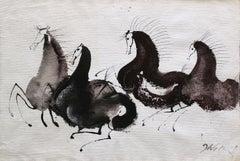 Horses - Contemporary art, Figurative drawing, Animals, Classics, Earth tones
