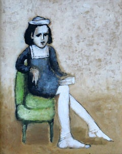 Girl on a green chair - XXI Century, Figurative Oil Painting, Portrait