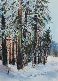 Winter landscape - XX Century, Watercolor Painting, Realistic View of Woods