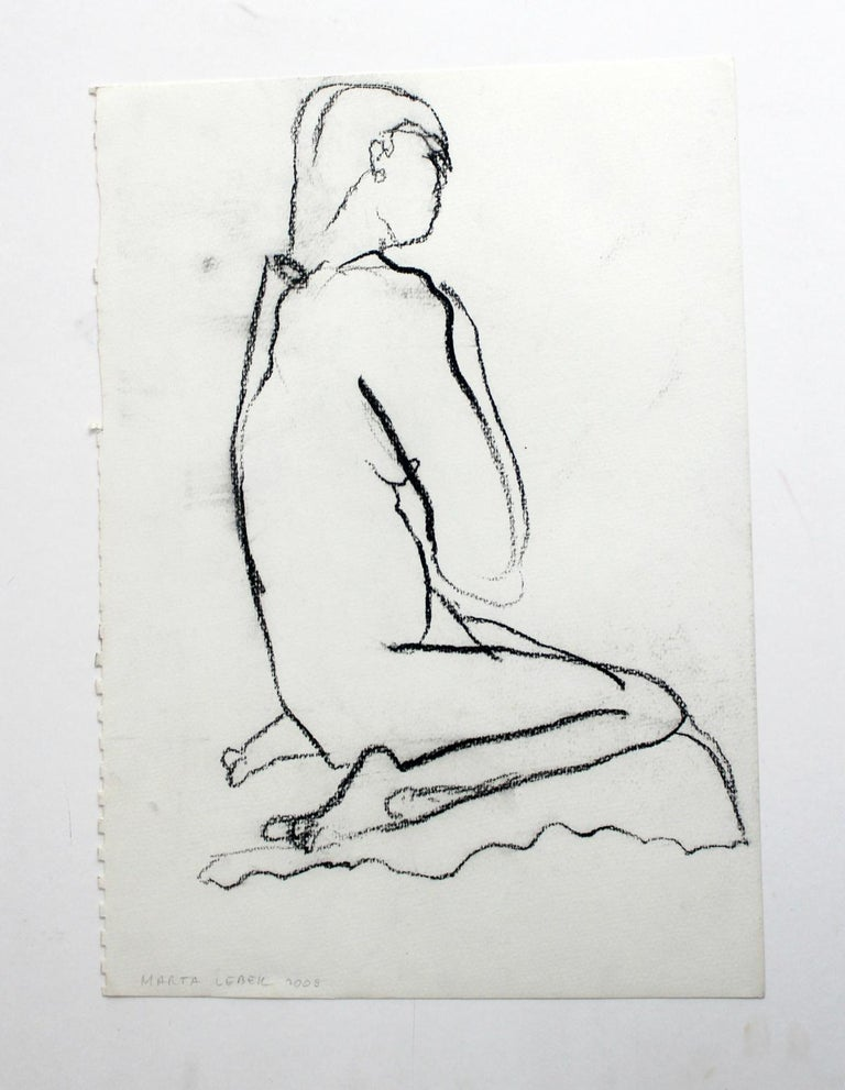 Nude - XXI Century, Contemporary Charcoal Figurative Drawing, Sitting Female - Art by Marta Łebek