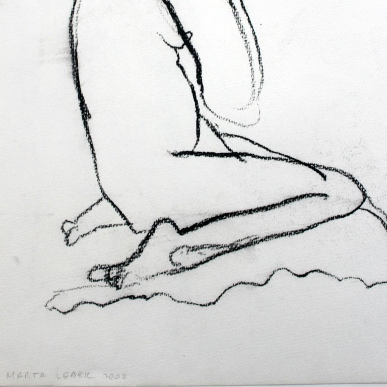 Nude - XXI Century, Contemporary Charcoal Figurative Drawing, Sitting Female - Gray Figurative Art by Marta Łebek