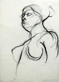 Nude - XXI Century, Contemporary Charcoal Figurative Drawing, Female Portrait
