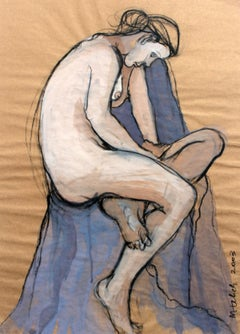 Nude - XXI Century, Contemporary Gouache and Charcoal Figurative Drawing, Female