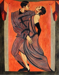 Tango - XXI Century, Figurative Oil Painting, Dancing Couple, Vibrant Colors