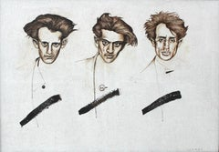 Poets - XXI Century, Figurative Gouache Painting, Multiple Portrait, Textured