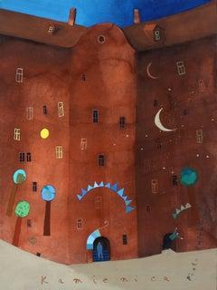 Tenement house - XXI Century, Gouache on paper, Architecture, Landscape