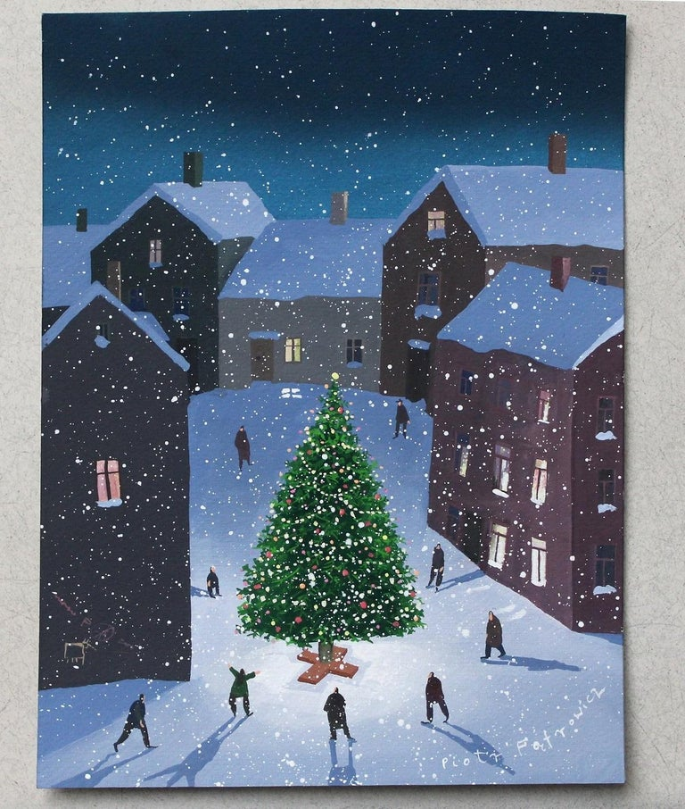 Christmas Tree - XXI Century Contemporary Figurative Gouache Painting, Landscape - Black Figurative Painting by Piotr Fąfrowicz