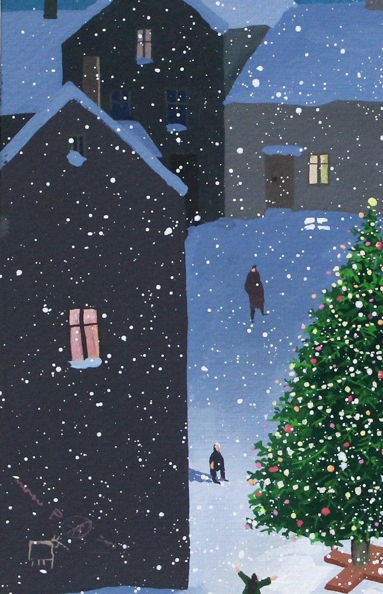Christmas Tree - XXI Century Contemporary Figurative Gouache Painting, Landscape For Sale 1
