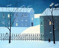 Winter - XXI Century, Contemporary Figurative Gouache Painting, Landscape