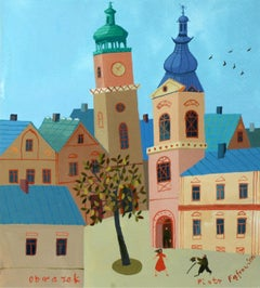 A picture - XXI Century, Figurative Goache Painting, Lanscape, Colorful