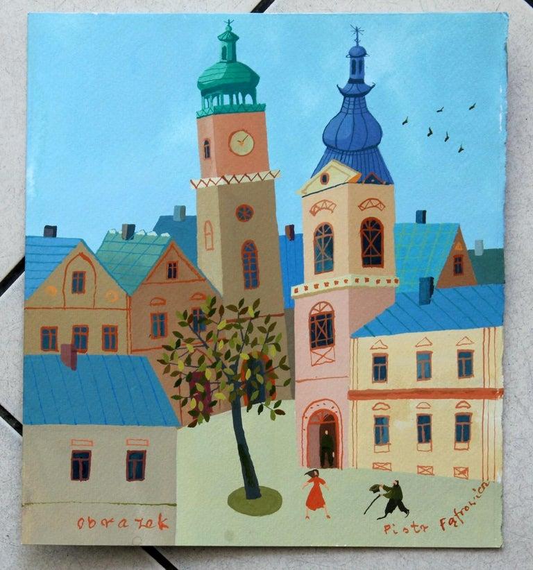 A picture - XXI Century, Figurative Goache Painting, Lanscape, Colorful For Sale 1