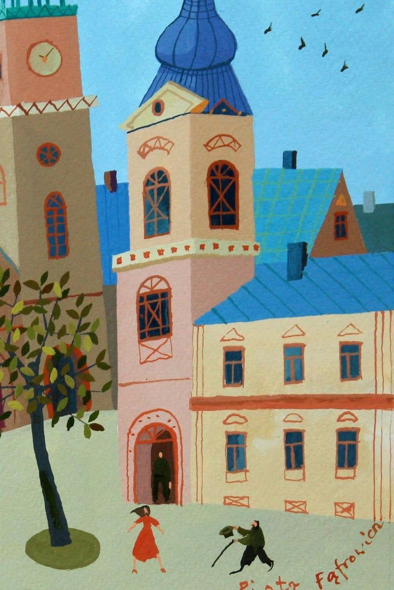A picture - XXI Century, Figurative Goache Painting, Lanscape, Colorful For Sale 2