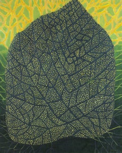 Great leaf 2- XXI Century, Contemporary Oil Painting, Green & Yellow