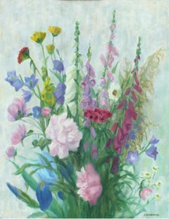 Spring flowers - XX Century, Still-life Oil Painting, Colorful, Bright Colors